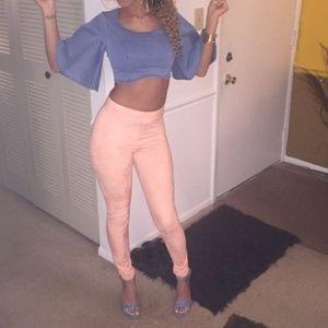Pink Suede Leggings